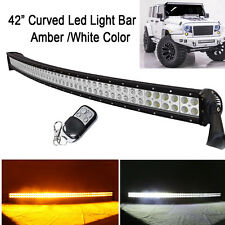 "42"" Led Curved Light Bar Amber White Dual Color Work Offroad Truck Remote 240W"