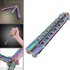 Practice BALISONG METAL STEEL BUTTERFLY Comb Trainer Knife Tool With Sheath New