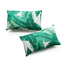 2Pcs Lumbar Pillow Case Banana Palm Leaves HEAVY WEIGHT FABRIC Cushion Cover Set