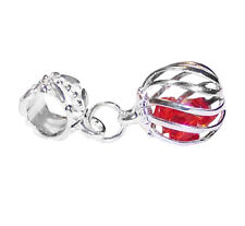 Caged Red Crystal July Birthstone Dangle Bead for Silver European Charm Bracelet