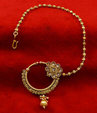 Ethnic Designer Traditional Nath Hoop Wedding Nose Ring Chain Jewelry Accessory