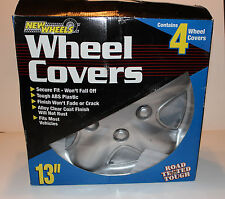 NEW Set of 4 Tough ABS Plastic 13 In. Silver Alloy Clear Coat Wheel Covers 5 Lug