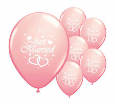 "10 JUST MARRIED LIGHT PINK 11"" HELIUM QUALITY PEARLISED WEDDING BALLOONS (PA)"