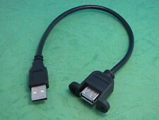 1x USB 2.0 A Male to A Female Extension Cable 30cm With Screws Panel Mount