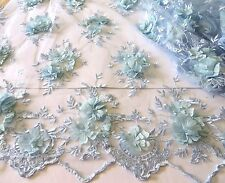 Sky Blue Emb 3D Flower Bridal Tutu Dress Stage Fabric #10BE9B 50 cm