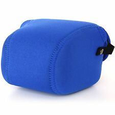 OLYMPUS PEN E-PL1 PL2 PL3/14-42mm Lens NEOPRENE Camera Case Cover Pouch Bag Blue