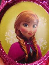 NEW PINK glitter blown glass DISNEY FROZEN ANNA CHRISTMAS ORNAMENT HALLMARK MIB