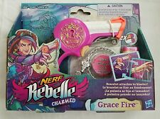 NEW Nerf Rebelle Charmed Grace Fire Girl's Gun with Bracelet Charm & Darts