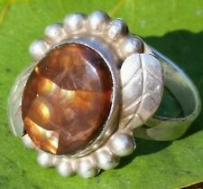 VTG Large Mexican Fire Agate Old Pawn Native Amber Sterling Silver Leaf Ring 9