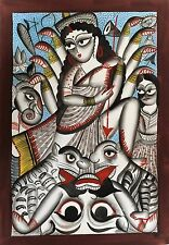 Kalighat Pata Chitra Painting Hindu Goddess 'Durga' Indian Miniature Painting