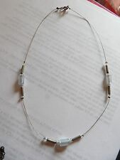 DELICATE SILVER & BLUE BEADS ON 'INVISIBLE' WIRE STATION NECKLACE             75