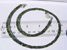 82.2 carats of checkered cut beads 5mm x 1.5mm MOLDAVITE necklace 18 inches