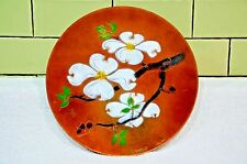 Vintage Mid Century Modern Hand Painted Enamel on Copper Dish Signed M. Ratcliff