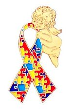 Autism Puzzle Ribbon Pin Guardian Angel Tac Gold Plated Asperger Awareness New