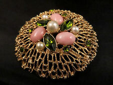 Vtg Sarah Coventry Fashion Spendor Book Piece Green Rhinestone Pink Cab Brooch