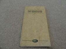 1997 Land Rover Range Rover Quick Reference Guide Owners Manual Supplement