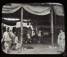 Glass Magic Lantern Slide HYDRAULIC PRESS ESPARTO GRASS YARD TRIPOLI C1890 LIBYA