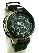 NEW CASIO AQ-163W-1B1 WORLD TIME 5 ALARMS SPORTS YACHT TIMER RUBBER MEN'S WATCH