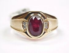 Brand New Custom Made Men's Ruby Ring with Diamonds 14K Yellow Gold Size 12 17g+