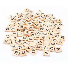 100 Wooden Alphabet Scrabble Tiles Black Letters & Numbers For Crafts Wood Games