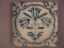 Antique Dutch Delft Tile tile three tulips Akkoladenrahmung 17th - free shipping