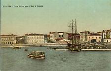 1900s colour card - siracusa - porto grande con il molo d'lmbarco