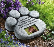 Dog or Cat Paw Print Pet Memorial Garden Stone w/ Picture Holder