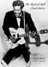Chuck Berry 'Mr Rock + Roll' in Action. Black + White. Fine Quality Poster/Photo