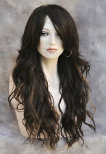 LATEST STYLE HEAT SAFE WAVY Long Brown Auburn mix TOP WIG w bangs WBCA 6-30