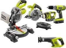Cordless Combo Kit Tool Set Drill Tool Power ONE+ Miter Saw 5 Home Garage Hand