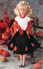 Crochet Pattern Only: Barbie's Fall Dress with Pumpkins & Lacy Shawl ~ Halloween
