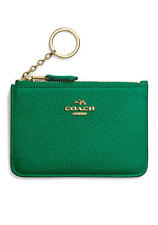 NWT 65566 Coach Polished Pebbled Leather Keyring Coin Pouch Forest Green $50