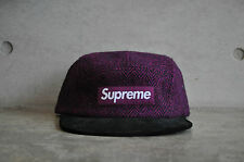 Supreme x Harris Tweed Herringbone Purple Black Camp Cap Box Logo