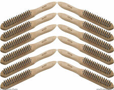 12 X 4 Row Heavy Duty Wire Brush Mechanics DIY Engineers Remove Rust Scale Paint