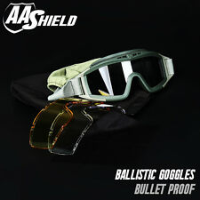 Bullet Proof Ballistic Goggles Mask Tactical Assault Pack 3 Lens OD AA SHIELD