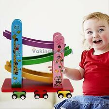 Colorful Wooden Toy Pulley Zig Zag Car Trolley Tracks Set For Kids Child Gift