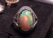 14K Solid WG Natural LARGE Opal And Diamond Ring - Super Lovely Multi-Color