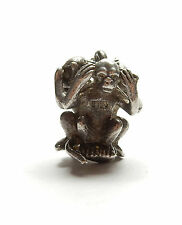 Vintage 925 Sterling Silver THREE WISE MONKEYS SEE HEAR SPEAK NO EVIL Charm 6.1g