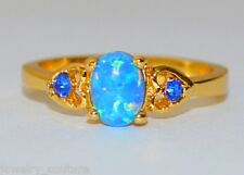 Beautiful Blue/Black FIRE OPAL Oval Cabochon Yellow Gold Ring Size 7 and 8