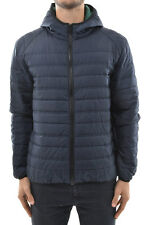 MSGM MILANO New Man Blue Hooded Puffer Quilted Padded Jacket Coat Size 48 ita