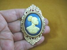 (CA20-25) RARE African American LADY ivory + navy blue CAMEO Pin Pendant JEWELRY