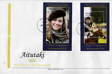Aitutaki 2011 FDC Royal Engagement 2v Deluxe Sheet Cover Prince William Kate