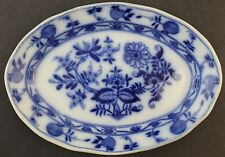 Antique Meissen England Flow Blue Onion Porcelain Serving Dish Vegetable Plate
