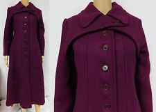 Vintage 60s 70s Trench Coat Long Button Down Plum Rovercoat Heavy Wool Blend