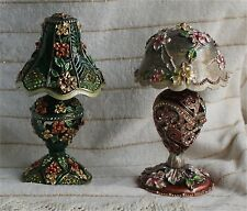 2 Enameled Collectible Replica  Jeweled rhinestone trinket box lamp shade