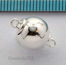 1x BRIGHT STERLING SILVER PLAIN ROUND BALL MAGNETIC CLASP 10mm #2661