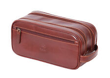 REAL Leather Wash Bag BROWN Toiletry Shaving Kit Cosmetic Travel Leather Bag NEW