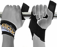 RDX Padded Weight Lifting Gym Straps Hand Bar Wrist Support Gloves Wrap Fitness