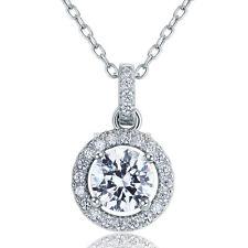 1 Karat Rund Erstellt Diamant 925 Sterling Silber Halskette Anhänger FN8037