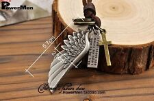 Newly Cross Silver Tone Angel Wing Genuine Leather boys Pendant Charm Necklace